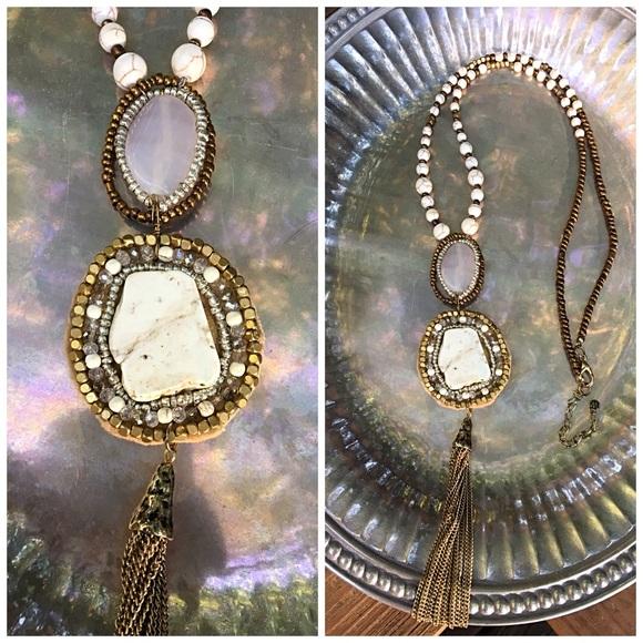 Jewelry - Super Long Beaded Tassel Stone Pendant Necklace❤️